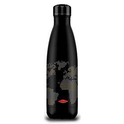 Termo Botella 500 ml negra. Mapamundi